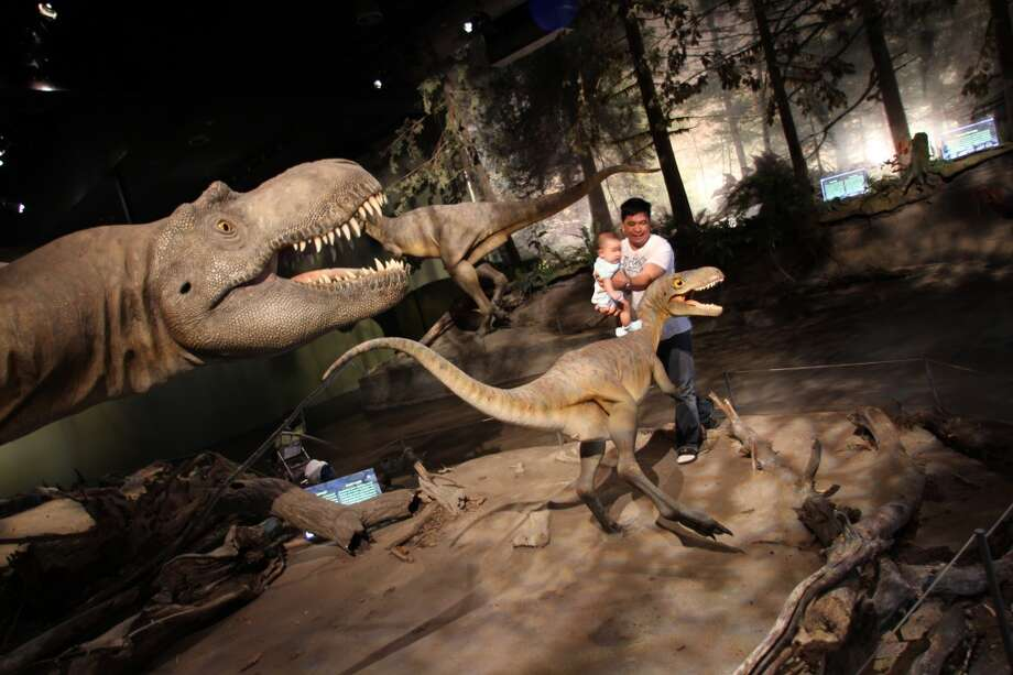Visitors enjoy the diorama of dinosaurs in the Royal Tyrrell Museum in Drumheller, Alberta, Canada.