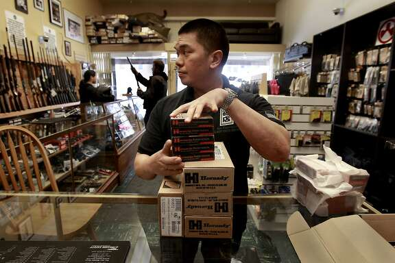 General Manager Steven Alcairo with boxes of Ammunition that has been pre-ordered for customers, arrived today at High Bridge Arms in San Francisco, Calif. on Thurs. May 23, 2013, will be distributed in the next few days. High Bridge Arms the last gun shop in San Francisco has been having trouble acquiring ammunition since the first of this year. General manager Steven Alcairo says that their twice a week ammunition orders are at one quarter of what they used to get due to availability.