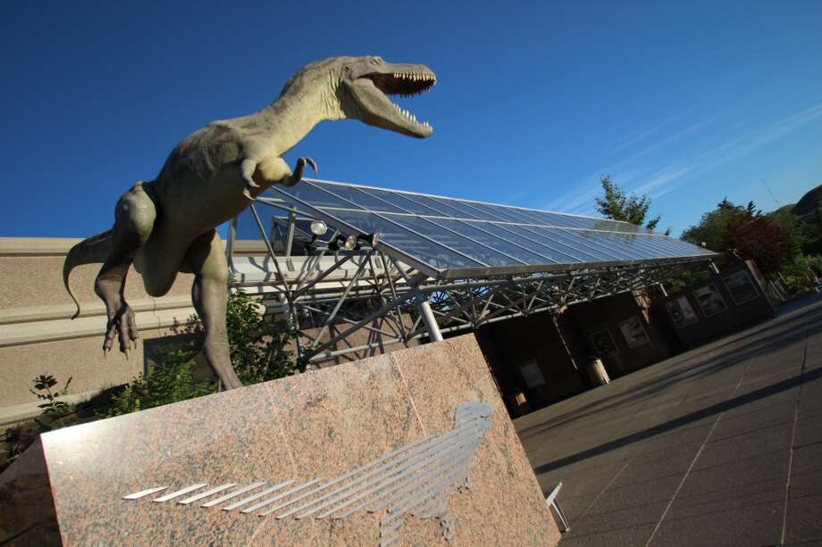 The front of the Royal Tyrrell Museum, guarded by a raptor.