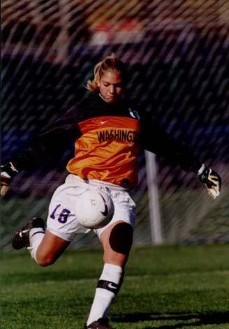 Hope Solo, UW soccer goalkeeper, kicks the ball on March 29, 2000. Photo: Seattle P-I File