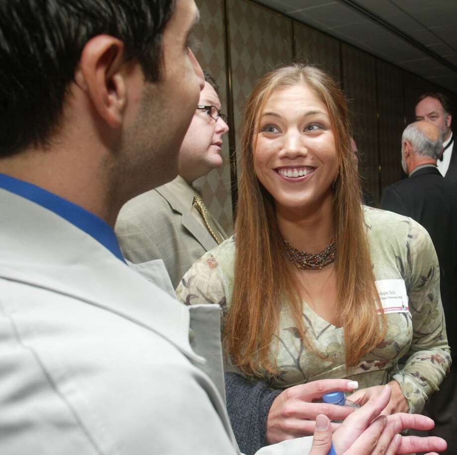 Hope Solo talks with Adrian Galaviz before the banquet at the 68th Sports Star of the Year Awards and the 2002 Hutch Award at the Westin Hotel in Seattle on Jan. 27, 2003. Photo: Grand M. Haller, Seattle P-I File