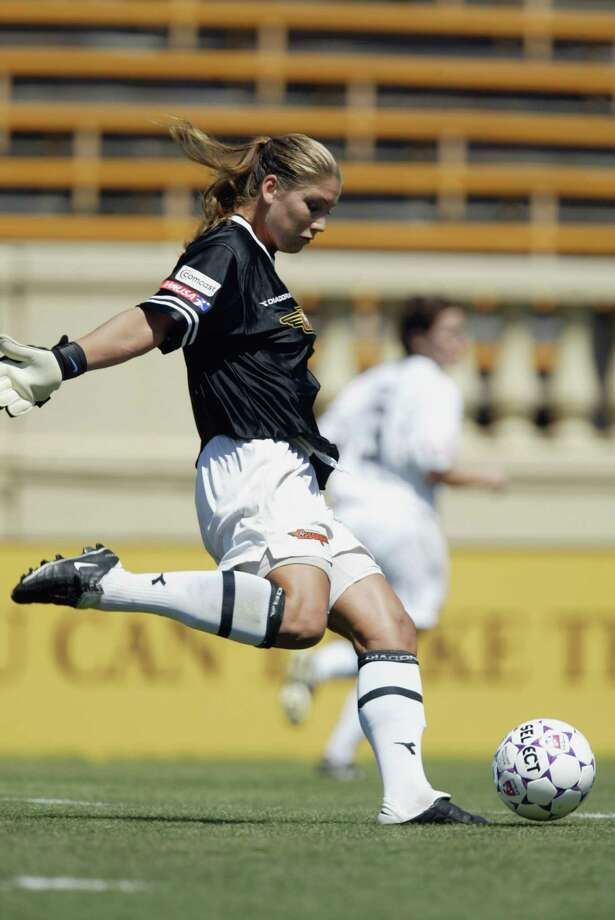 Hope Solo of the Philadelphia Charge kicks the ball against the San Jose Cyberrays during the WUSA game at Spartan Stadium on July 20, 2003, in San Jose, California.  The Cyberrays won 2-1. Photo: Jed Jacobsohn, Getty Images / 2003 Getty Images