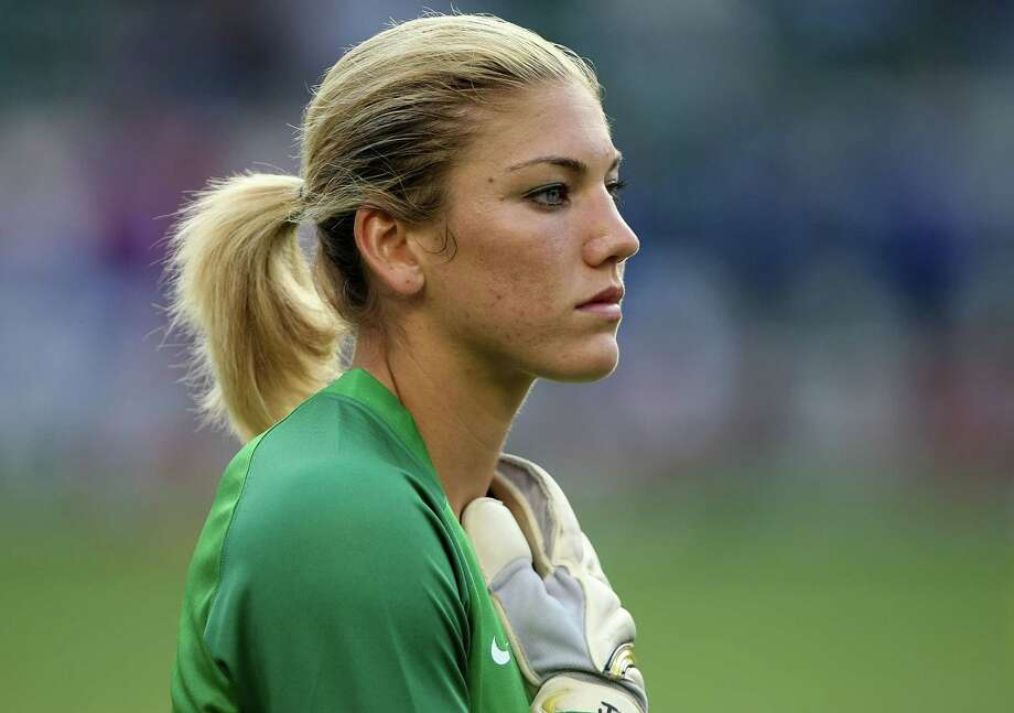 Goalkeeper Hope Solo of the US Women's National Team stands during the national anthem before playing Finland in an international friendly on August 25, 2007, at the Home Depot Center in Carson, California. The US won 4-0. Photo: Stephen Dunn, Getty Images / 2007 Getty Images