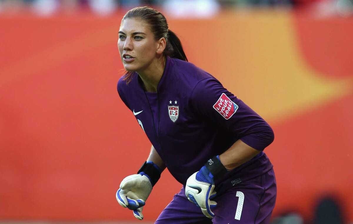 Hope Solo, goalkeeper of USA, looks on during the 2011 FIFA Women's World Cup group C match between USA and Korea DPR at the Dresden Arena on June 28, 2011, in Dresden, Germany.