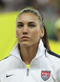 USA's goalkeeper Hope Solo is pictured prior to the FIFA Women's Football World Cup final match of Japan vs USA on July 17, 2011, in Frankfurt, western Germany. Photo: DANIEL ROLAND, AFP/Getty Images / 2011 AFP