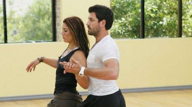 """Hope Solo and partner Maksim Chmerkovskiy rehearse for the two-hour season premiere of """"Dancing with the Stars."""" Solo would later contended in her autobiography that the show was fixed. Photo: ABC Photo"""