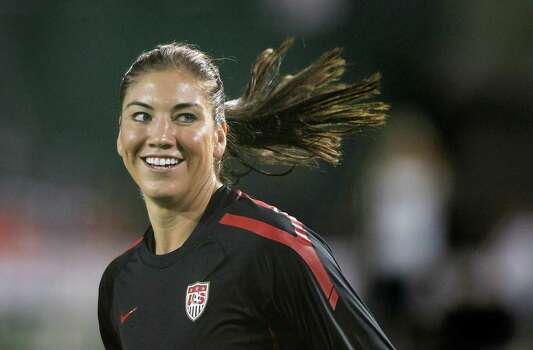 Goalkeeper Hope Solo of the United States warms up against Canada on Sept. 22, 2011, at Jeld-Wen Field in Portland, Ore. Photo: Jonathan Ferrey, Getty Images / 2011 Getty Images
