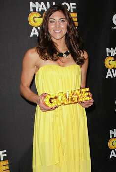 Soccer player Hope Solo poses in the press room during the 2nd Annual Cartoon Network Hall of Game Awards at Barker Hangar on Feb. 18, 2012, in Santa Monica, Calif. Photo: David Livingston, Getty Images / 2012 Getty Images