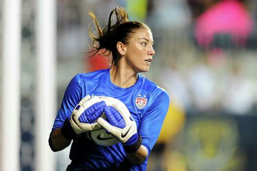 Hope Solo of the USA catches the ball during the game against China at PPL Park on May 27, 2012, in Chester, Pa. US won 4-1. Photo: Drew Hallowell, Getty Images / 2012 Getty Images