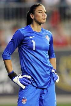 Hope Solo of the US stands in goal during the game against China at PPL Park on May 27, 2012, in Chester, Pa. USA won 4-1. Photo: Drew Hallowell, Getty Images / 2012 Getty Images