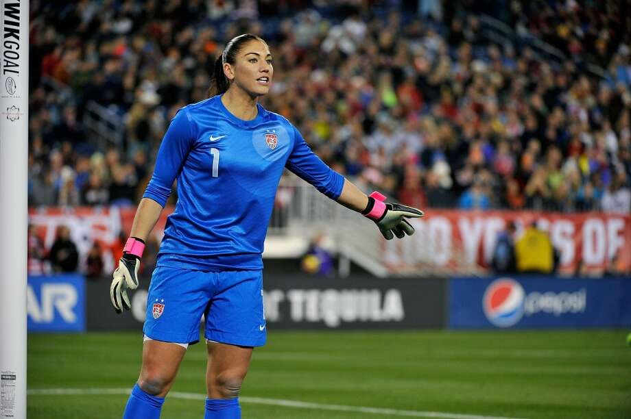 Goalkeeper Hope Solo of the U.S. Women's National Team plays against the Scotland Women's National Team at LP Field on February 13, 2013, in Nashville, Tennessee. Photo: Frederick Breedon, Getty Images