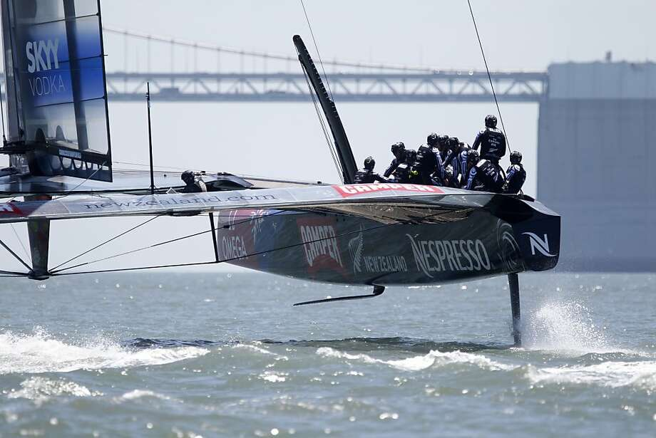 Emirates Team New Zealand sails its AC72 on San Francisco Bay on Friday afternoon. The team members looked confident as they pushed their boat to well over 30 knots. Photo: Lea Suzuki, The Chronicle