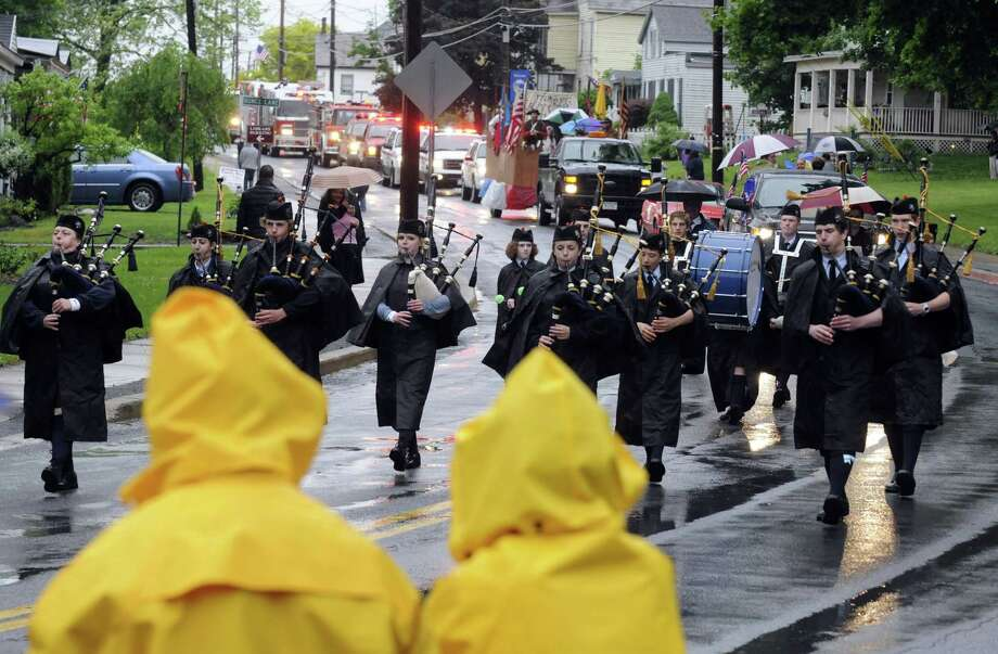 The Scotia Glenville Pipe Band march in the Village of Stillwater Memorial Day Parade on Friday May 24, 2013 in Stillwater, N.Y. (Michael P. Farrell/Times Union) Photo: Michael P. Farrell