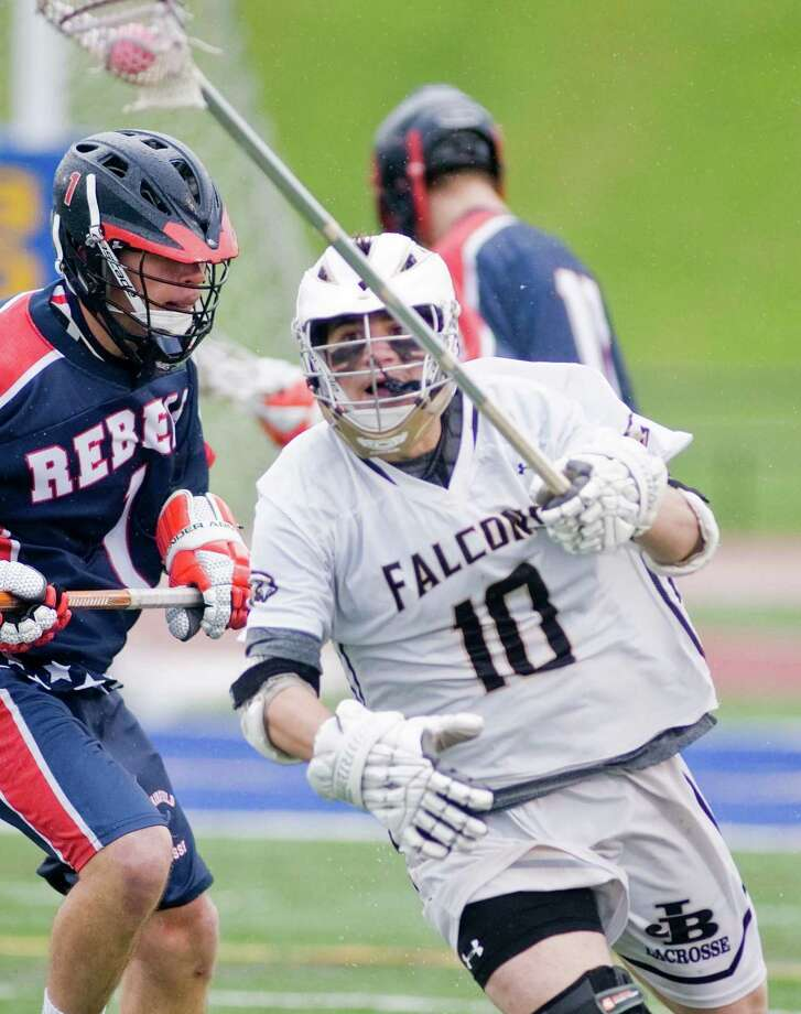 Joel Barlow High School's Anthony Catania charges up the field in the SWC Division I boys lacrosse final game against New Fairfield High School, played at Brookfield High School. Friday, May 24 2013 Photo: Scott Mullin / The News-Times Freelance