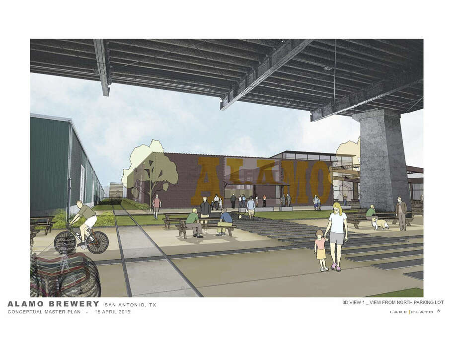 An outdoor patio and a tasting room are part of the proposal for a brewery near the historic Hays Street Bridge. Revised plans call for the brewery to be located on Burnet Street. Photo: Courtesy Illustration / Lake | Flato