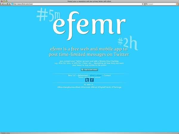 Efemr can limit lingering tweets