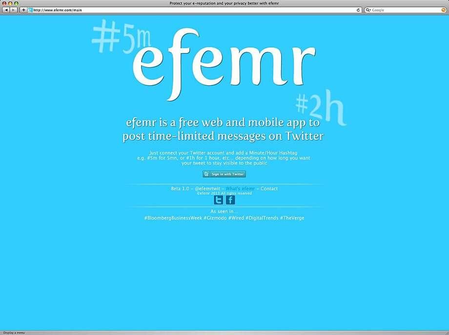 Efemr's website explains what the free app can do to change tweets. Photo: Efemr