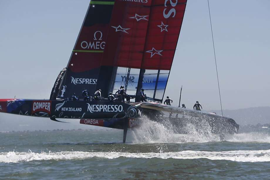 Emirates Team New Zealand sailed their new AC 72 on San Francisco Bay on  Friday, May 24, 2013 in San Francisco, Calif. The AC72 debuted the day before but today was the first proper day of sailing on San Francisco Bay. Photo: Lea Suzuki, The Chronicle