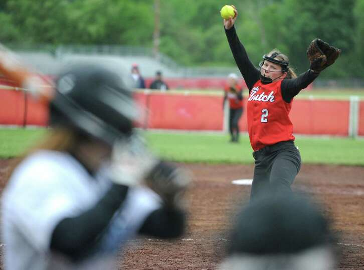 Guilderland pitcher Taylor Tewkbury throws the ball during the Class AA quarterfinal softball game a