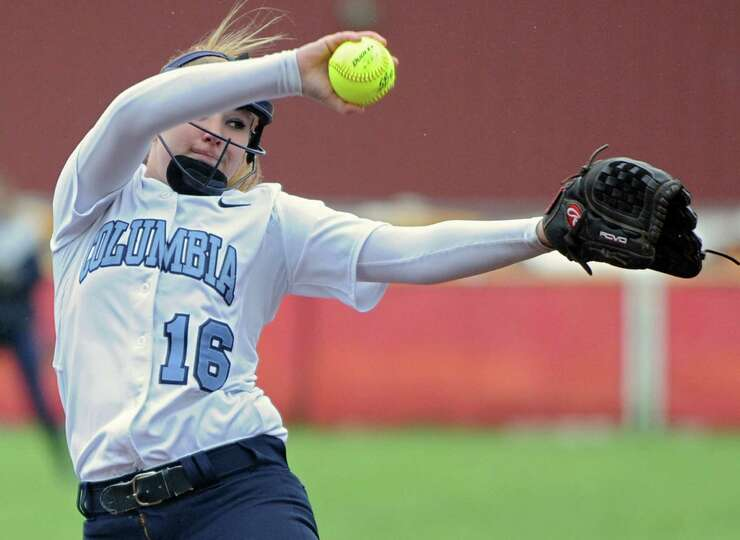Columbia pitcher Haley Van Vorst throws the ball during the Class AA quarterfinal softball game agai