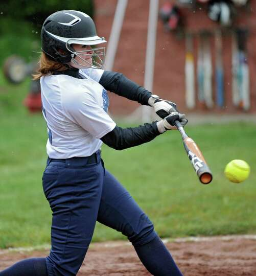 Columbia's Mackenzie Lozano hits the ball to the shorstop during the Class AA quarterfinal softball