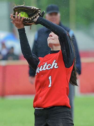 Guilderland second baseman Tori Greco catches a fly ball during the Class AA quarterfinal softball g