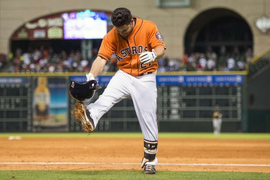 May 24: A's 6, Astros 5Astros second baseman Jose Altuve kicks his helmet after grounding out to end the game.