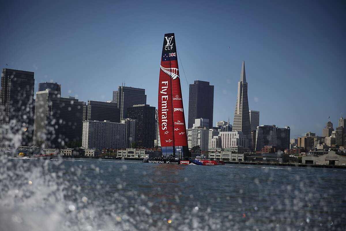 Emirates Team New Zealand sailed their new AC 72 on San Francisco Bay on Friday, May 24, 2013 in San Francisco, Calif. The AC72 debuted the day before but today was the first proper day of sailing on San Francisco Bay.