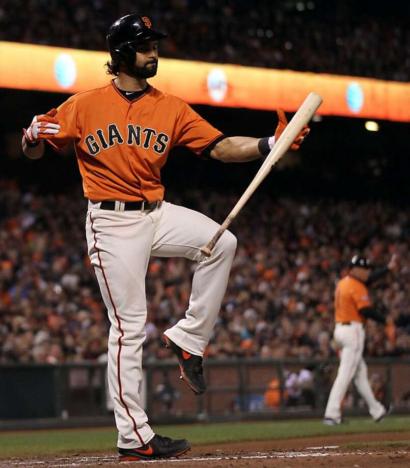 Angel Pagan, who reacts after hitting a foul ball in the fifth inning, and the Giants are a bit frustrated as the Rockies have won four straight games against them. Photo: Lance Iversen, The Chronicle