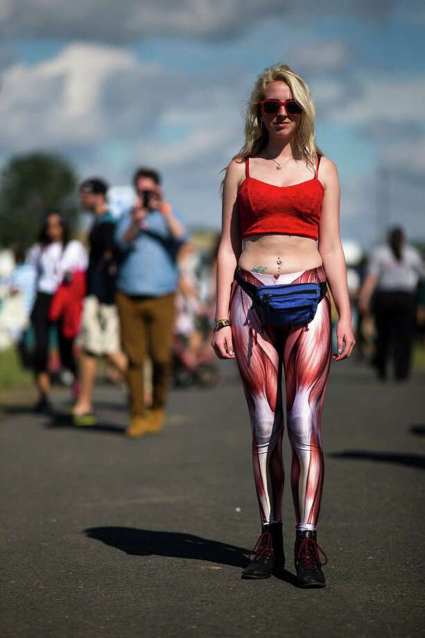 Ayla Seiler shows of her muscle leggings on the first day of the annual Sasquatch music festival Friday, May 24, 2013, at The Gorge Amphitheatre in George. Photo: JORDAN STEAD, SEATTLEPI.COM / SEATTLEPI.COM