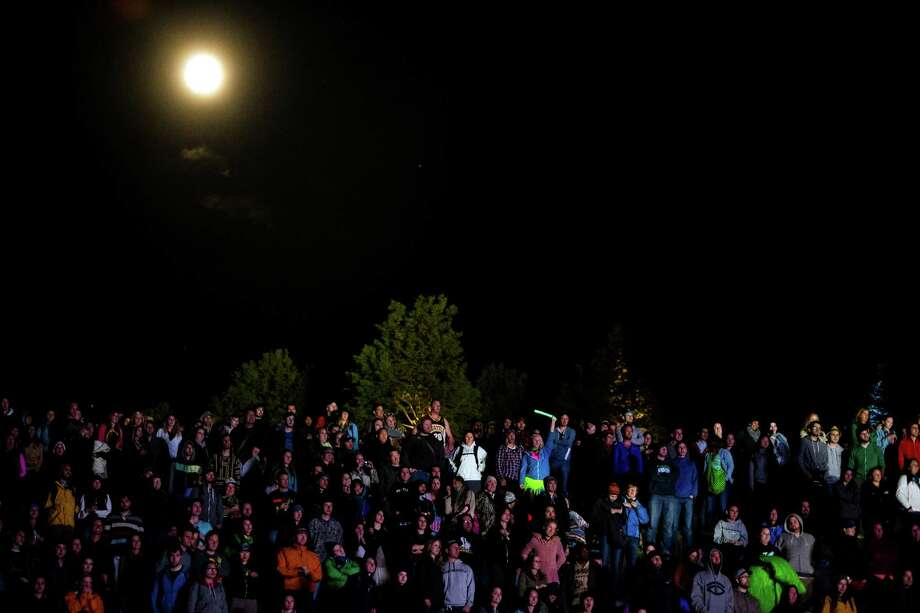 Under a full moon, tens of thousands of attendees enjoy the first day of the annual Sasquatch music festival Friday, May 24, 2013, at The Gorge Amphitheatre in George. Photo: JORDAN STEAD, SEATTLEPI.COM / SEATTLEPI.COM