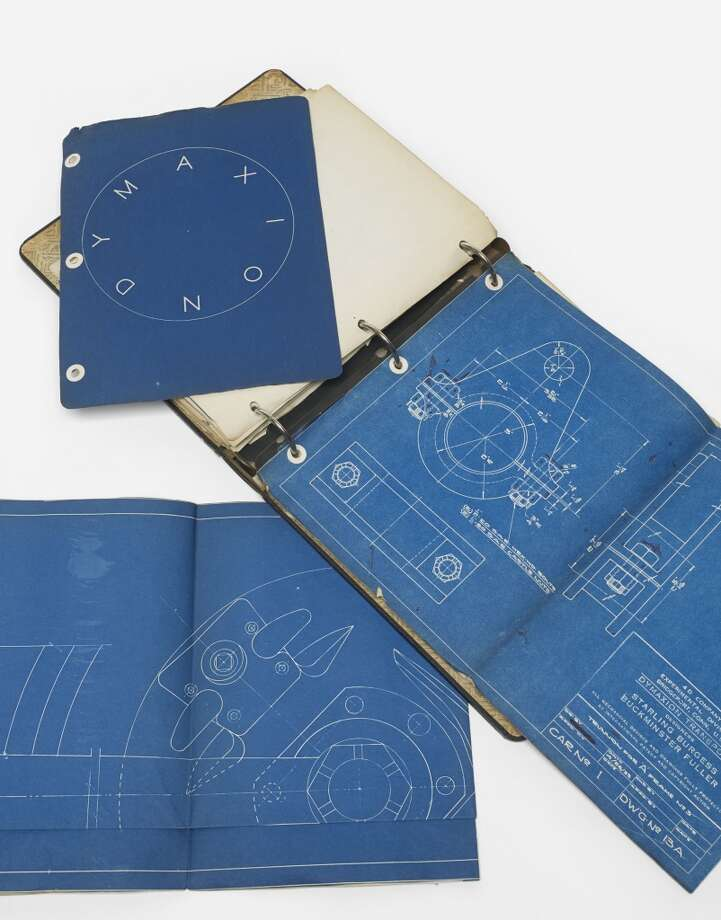 The binder that contains the newly discovered Dymaxion blueprints. (Courtesy Wright auction house, Chicago)