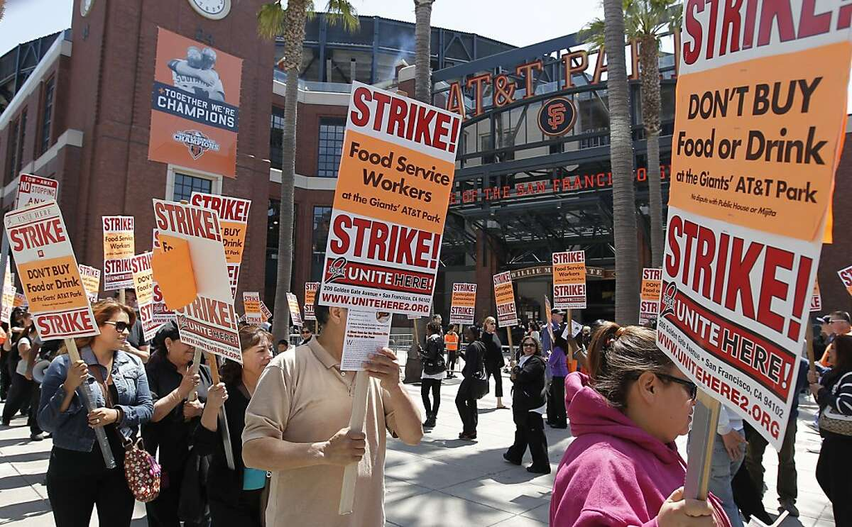 Food workers with Centerplate Concessions ask fans not to buy food or drinks inside the ballpark.