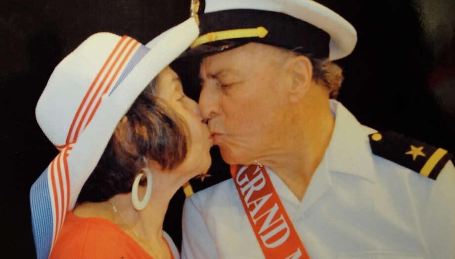 A photo of Tracy Sugarman and his wife Gloria celebrating Memorial Day 2011, part of a new exhibit dedicated to Sugarman's art and activism at the Westport Historical Society. Photo: Contributed Photo / Westport News contributed