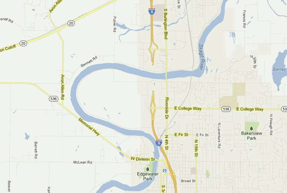 Interstate 5 over the Skagit River has been erased from Google Maps after the collapse of a bridge into the Skagit River below. Photo: Google / Google