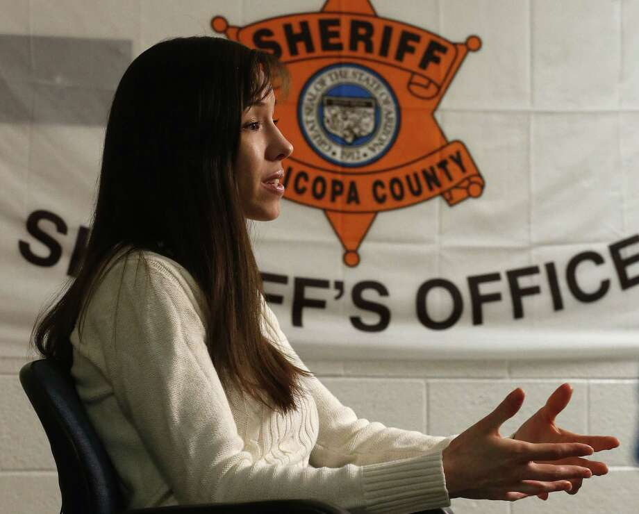 Convicted killer Jodi Arias makes a point as she answers a question during an interview at the Maricopa County Estrella Jail on Tuesday, May 21, 2013, in Phoenix.  Arias was convicted recently of killing her former boyfriend Travis Alexander in his suburban Phoenix home back in 2008, made a plea in court for life in prison, instead of execution, saying she can contribute to society if allowed to live. Photo: AP