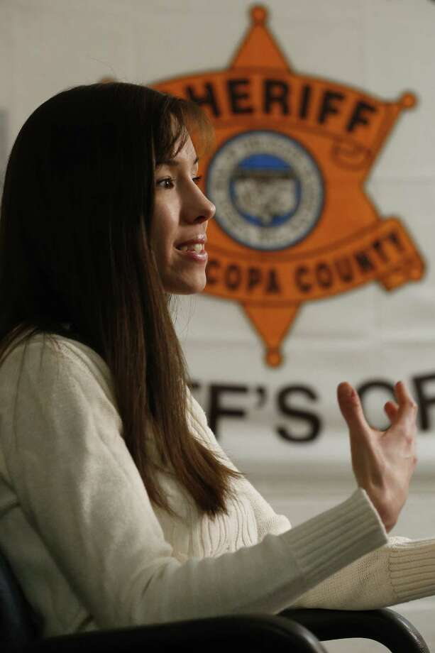 Convicted killer Jodi Arias speaks during an interview at the Maricopa County Estrella Jail on Tuesday, May 21, 2013, in Phoenix.  Arias was convicted recently of killing her former boyfriend Travis Alexander in his suburban Phoenix home back in 2008, made a plea for life in prison, instead of execution, saying she can contribute to society if allowed to live. Photo: AP