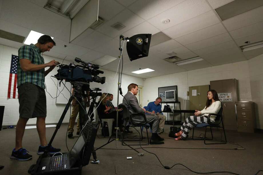 Convicted killer Jodi Arias speaks during an interview at the Maricopa County Estrella Jail on Tuesday, May 21, 2013, in Phoenix.  Arias was convicted recently of killing her former boyfriend Travis Alexander in in his suburban Phoenix home back in 2008, and could face the possibility of the death penalty as the sentencing phase of her trial continues. Photo: AP