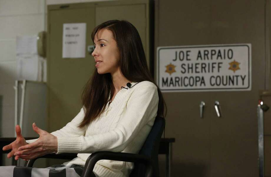 Convicted killer Jodi Arias answers a question during an interview at the Maricopa County Estrella Jail on Tuesday, May 21, 2013, in Phoenix.  Arias was convicted recently of killing her former boyfriend Travis Alexander in his suburban Phoenix home back in 2008, made a plea for life in prison, instead of execution, saying she can contribute to society if allowed to live. Photo: AP