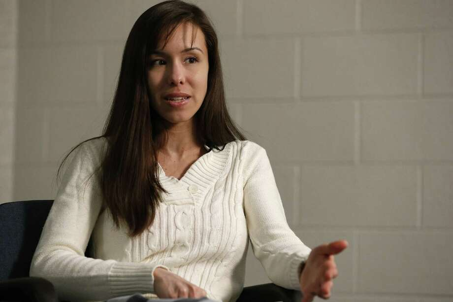 Convicted killer Jodi Arias makes a point while answering a question during an interview at the Maricopa County Estrella Jail on Tuesday, May 21, 2013, in Phoenix.  Arias was convicted recently of killing her former boyfriend Travis Alexander in his suburban Phoenix home back in 2008, and could face the possibility of the death penalty as the sentencing phase of her trial continues. Photo: AP