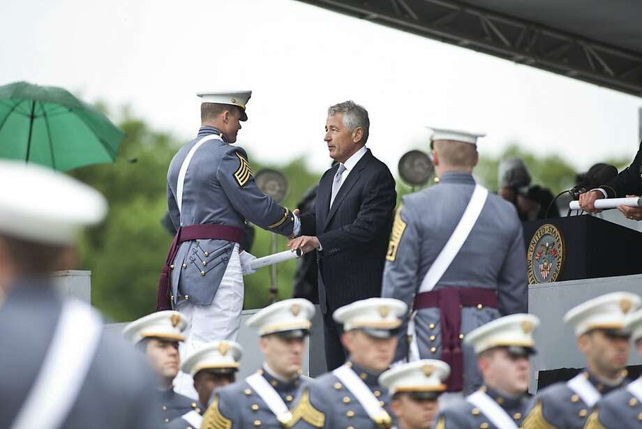 WEST POINT, NY - MAY 25: Secretary of Defense Chuck Hagel hands out diplomas at the United States Military Academy at West Point during the 215 commencement ceremony May 25, 2013 in West Point, New York. Most USMA graduates are commissioned as second lieutenants in the US Army. (Photo by Ramin Talaie/Getty Images) Photo: Ramin Talaie, Getty Images
