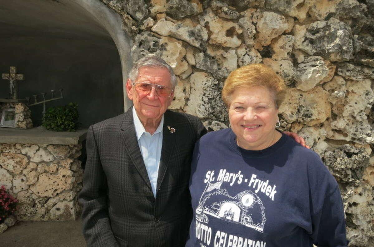 Veteran Emil Kutra, with grotto celebration organizer Doris Sodolak, is one of five surviving members of the Frydek 65.