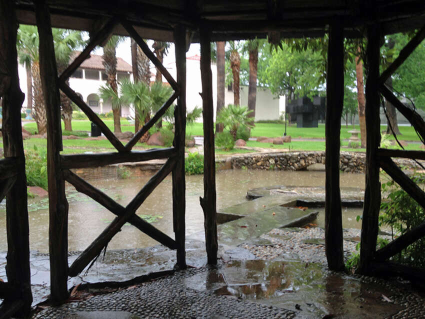 Inside the gazebo on a rainy day at the McNay Art Museum, Saturday, May 25, 2013.
