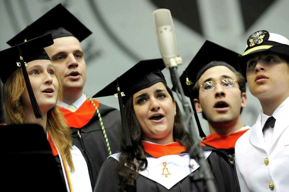 The Senior Vocal Ensemble sings the National Anthem during RPI college commencement on Saturday, May 25, 2013, at Rensselaer Polytechnic Institute in Troy, N.Y. (Cindy Schultz / Times Union) Photo: Cindy Schultz / 10022129A