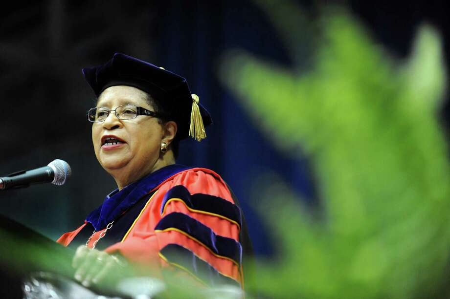 President Shirley Ann Jackson addresses graduates during RPI college commencement on Saturday, May 25, 2013, at Rensselaer Polytechnic Institute in Troy, N.Y. (Cindy Schultz / Times Union) Photo: Cindy Schultz / 10022129A