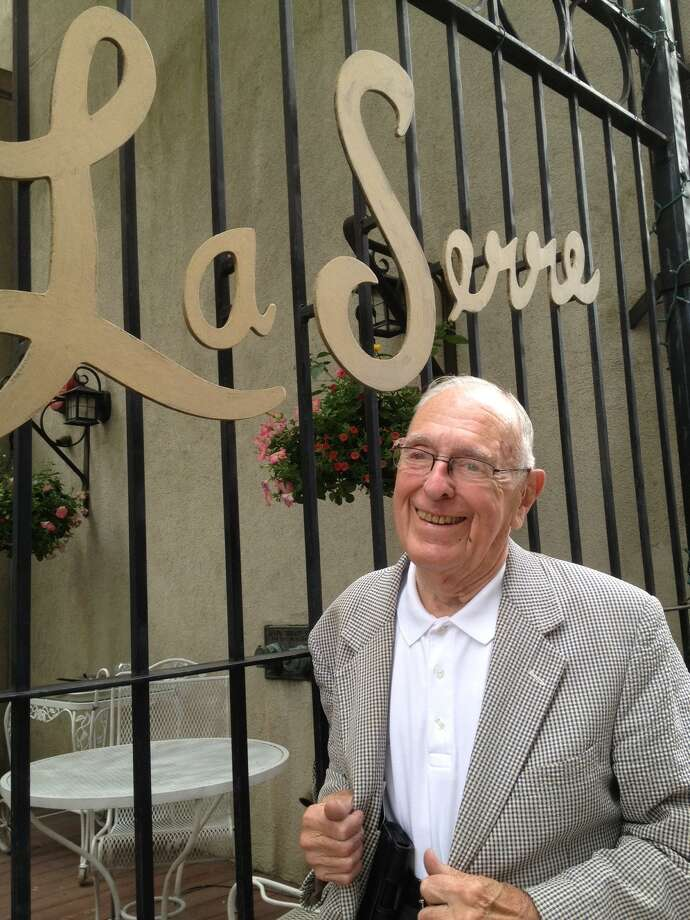 Photo by Paul Grondahl  Leo Dean pauses last week after lunch at LaSerre restaurant in downtown Albany, where he is a regular.