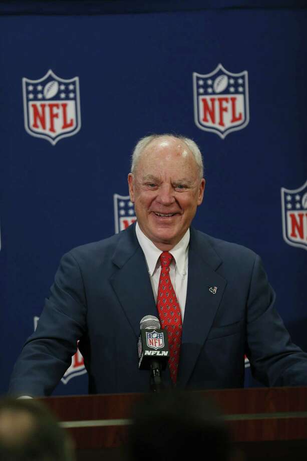 Houston Texans owner Bob McNair addresses the media after Houston was awarded the 51st Super Bowl by the NFL owners today at the NFL League Meetings in Boston. Photo: Damian Strohmeyer, For The Houston Chronicle