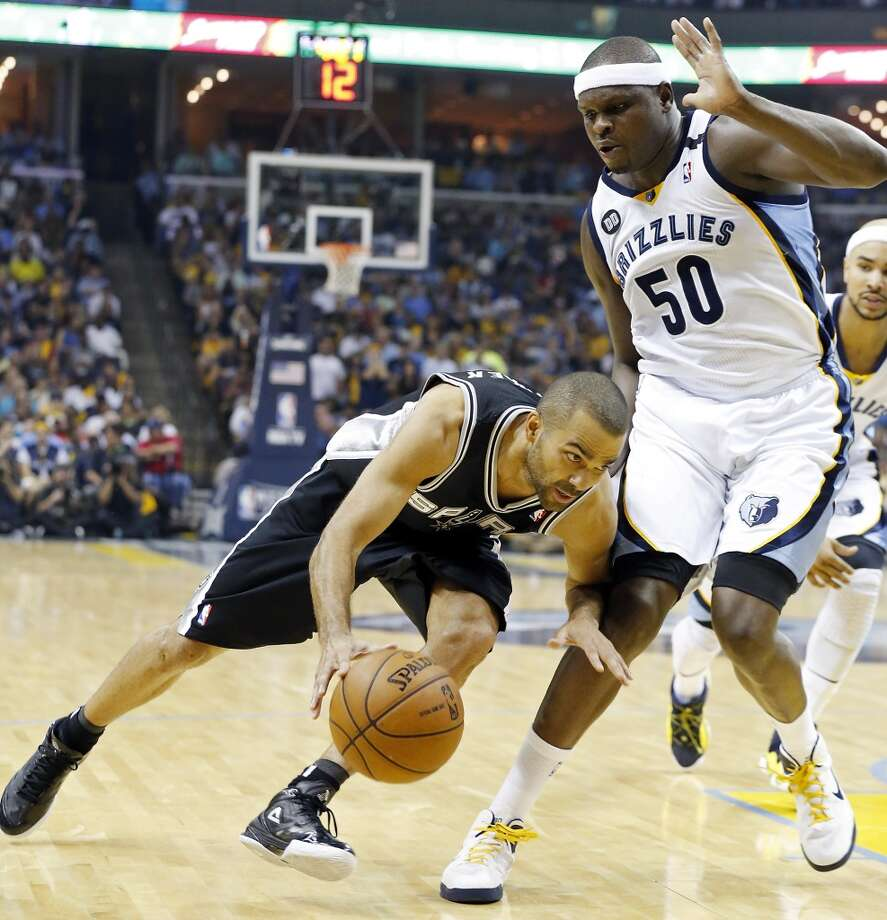 The Spurs' Tony Parker looks for room around the Grizzlies' Zach Randolph during first half action in Game 3 of the 2013 Western Conference finals Saturday, May 25, 2013 at the FedEx Forum in Memphis, Tenn. (Edward A. Ornelas / San Antonio Express-News)