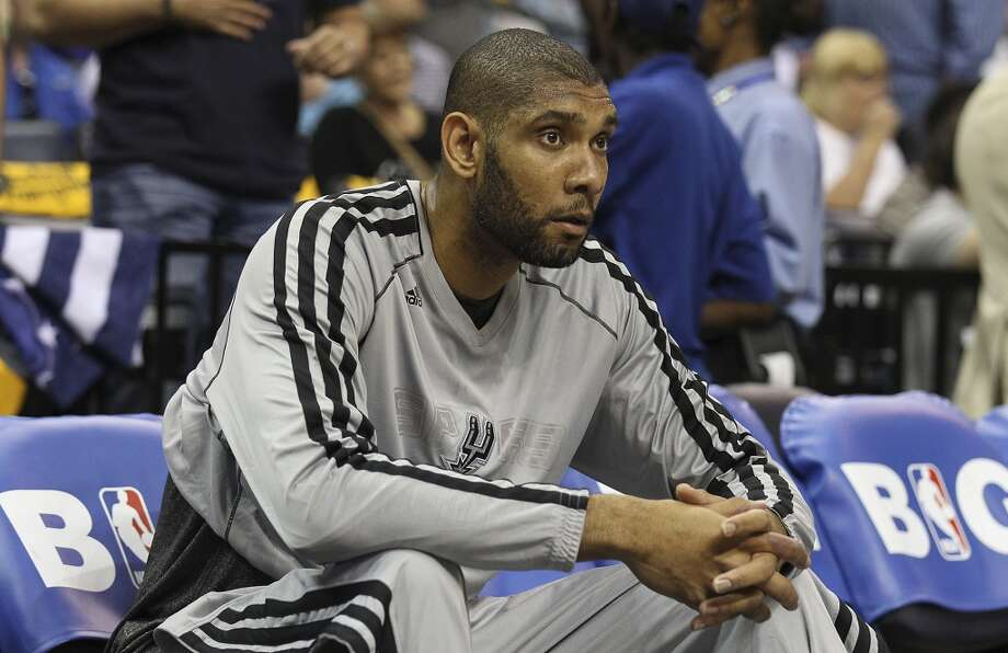 The Spurs' Tim Duncan (21) sits on the bench before Game 3 against the Grizzlies in the 2013 Western Conference Finals at the FedEx Forum in Memphis on Saturday, May 25, 2013. (Kin Man Hui / San Antonio Express-News)