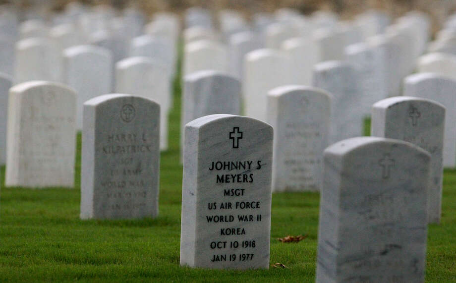 The engraving on these headstones at Fort Sam Houston National Cemetery 
